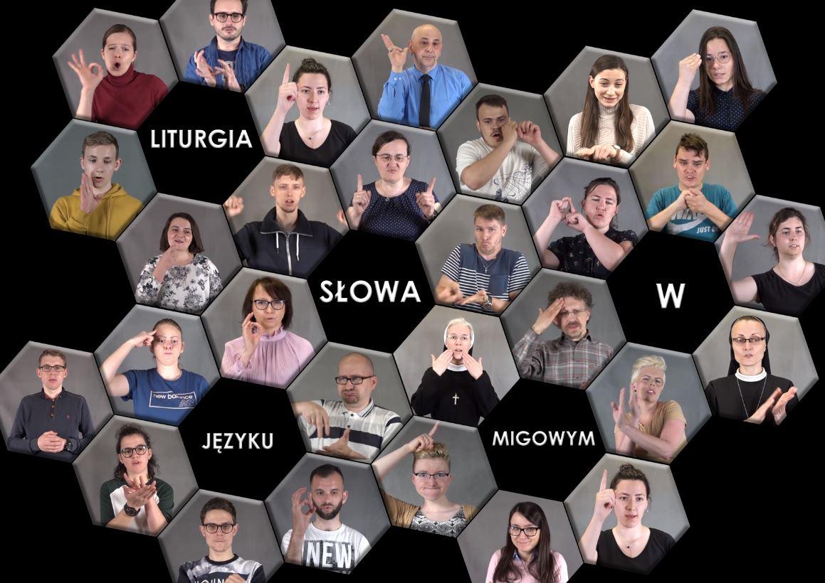 Twarze osób zaangażowanych w nagranie czytań niedzielnych w języku migowym