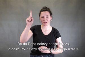 Osoba prezentująca czytania w języku migowym